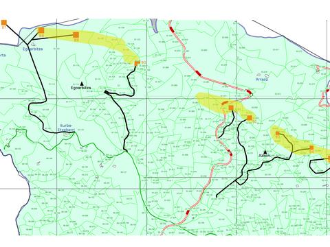 Algunos de los efectos de la línea Güeñes-Itsaso sobre el plano parcelario