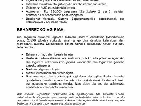 Convovcatoria de subvenciones para cursos de euskera realizados fuera del municipio