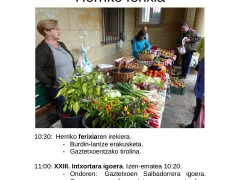 El 21 de septiembre se celebrará la feria de baserritarras y artesanos/as de Elgeta