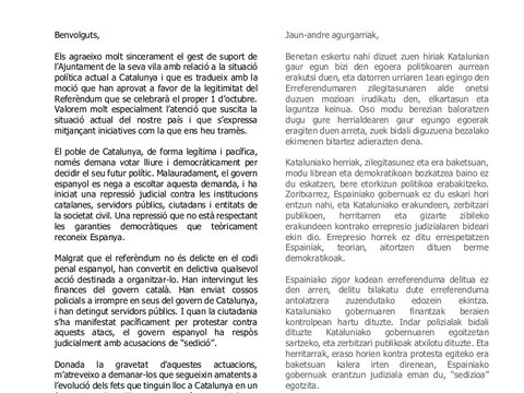 El Parlament de Catalunya da las gracias al Ayuntamiento de Elgeta