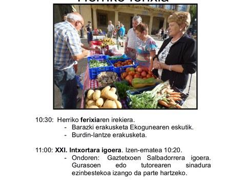 Feria de baserritarras el 23 de septiembre