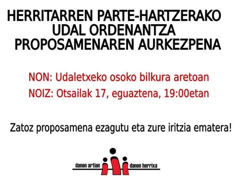 Reunión abierta sobre la ordenanza de participación