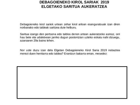 Se podrá proponer hasta el 29 de noviembre la candidatura a el/la deportista o grupo deportivo más significativo de Elgeta