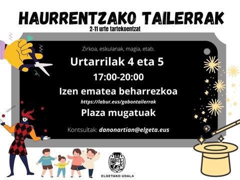 Talleres infantiles los días 4 y 5 de enero
