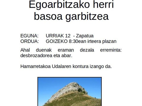 Auzolanean garbituko ditugu Egoarbitza inguruko herri sailak