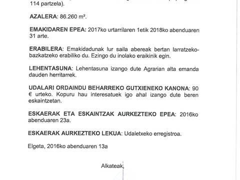 Egoarbitza haitza eta inguruko lur saila esleitzeko prozedura publikoa