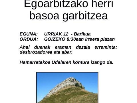Egoarbitzako herri saila auzolanean garbitzeko deialdia